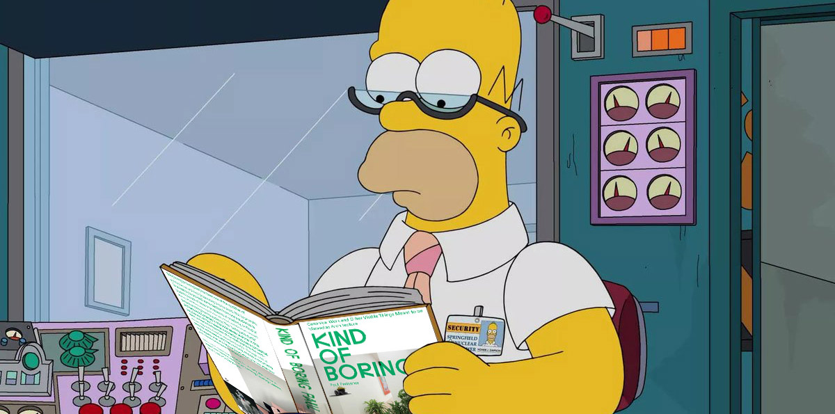A collaged image of Homer Simpson reading Kind of Boring