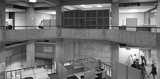 Architecture studios in Walter Netsch's A+A Building, late 1960s. Photo: Orlando Canbanban. Courtesy of UIC Special Collections and University Archives